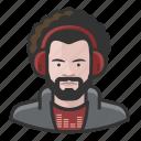 afro, avatar, disc jockey, male, man, millennial, user icon
