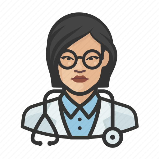 asian, avatar, doctor, female, healthcare, user, woman icon
