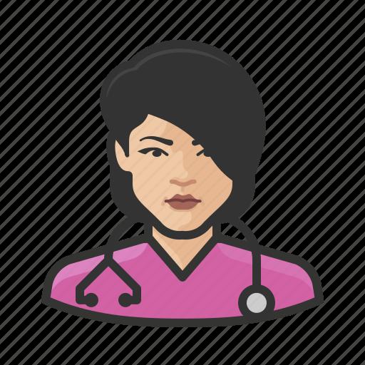 asian, avatar, female, healthcare, nurse, user icon