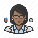 avatar, female, healthcare, pharmacist, user, woman icon