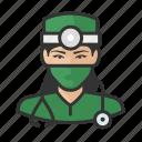 asian, avatar, doctor, female, healthcare, surgeon, user icon