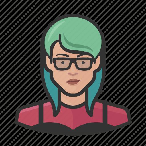 asian, avatar, emo, female, millennial, user, woman icon
