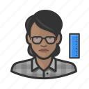 avatar, engineer, female, millennial, profile, user, woman icon