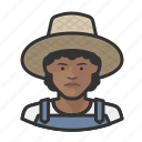 avatar, farmers, female, overalls, straw hat, user, woman