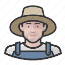 avatar, farmers, male, man, overalls, straw hat, user