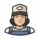 asian, avatar, baseball cap, farmhand, female, overalls, user