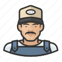 asian, avatar, baseball cap, farmhand, male, overalls, user