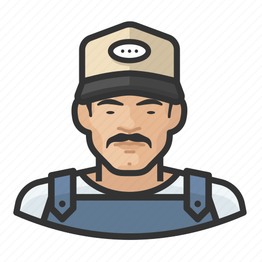 Asian, avatar, baseball cap, farmhand, male, overalls, user icon - Download on Iconfinder