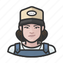 avatar, baseball cap, farmhand, female, overalls, user