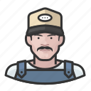avatar, baseball cap, farmhand, male, man, overalls, user