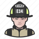 avatar, female, firefighter, user, woman icon