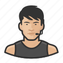 asian, avatar, exercise, male, man, personal trainer, user icon
