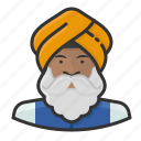 avatar, beard, indian, man, sikh, turban, user icon