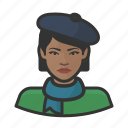 artist, avatar, beret, female, french, user, woman icon