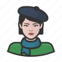 avatar, beret, female, french, user, woman icon