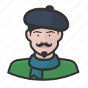 artist, avatar, beret, french, male, user icon