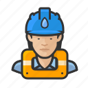 asian, avatar, female, gas works, hard hat, user, woman icon