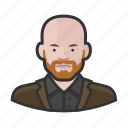 avatar, bald, beard, ginger, man, user icon