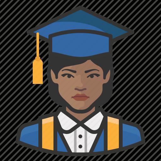 avatar, female, graduates, millennial, user, woman icon