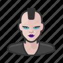 avatar, female, mohawk, punk, user, woman