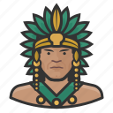 avatar, aztec, indian, king, mexican, native american icon