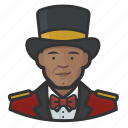 african, avatar, circus, male, man, ringmaster, tophat icon