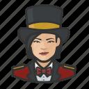 asian, avatar, circus, female, ringmaster, tophat icon