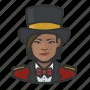 african american, avatar, circus, female, ringmaster, tophat