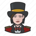 avatar, circus, female, ringmaster, tophat, woman