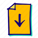 arrows, bottom, direction, down, move, pointer icon