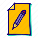 edit, file, paper, pencil, text, type, write icon