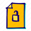 lock, padlock, password, protect, secure, security, unlock icon