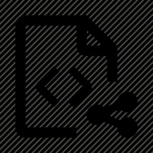 code, coding, development, extension, file, share, web icon