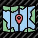 map, location, journey, document