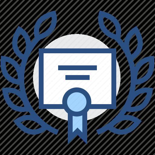 certificate, diploma, documents, laurel, legal, wreath icon