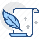 document, feather, new, paper, sheet, writing icon