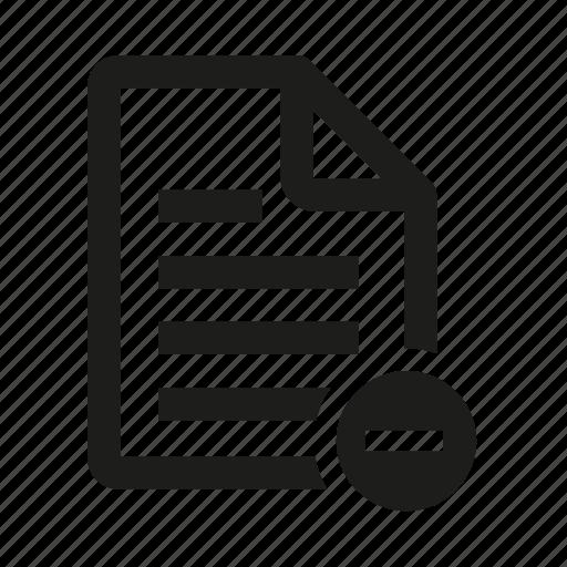 document, file, minus, remove icon