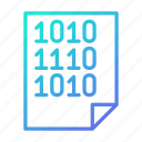binary, code, data, document, file, processing icon