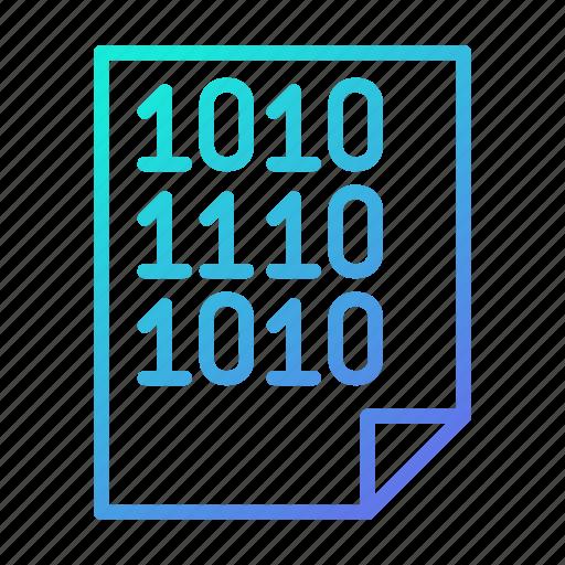binary, code, data, document, file, processing icon