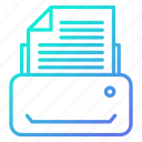 document, fax, machine, printer, printing icon