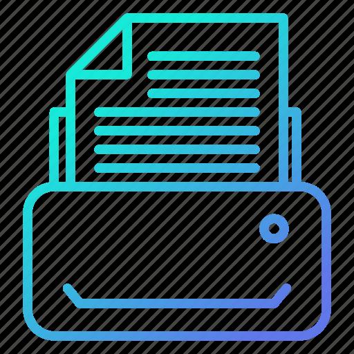 document, fax, machine, printer, printing icon