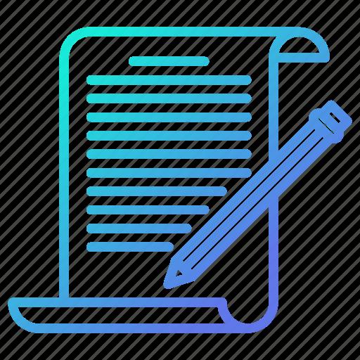blogging, document, edit, write, writing icon