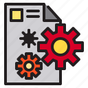 computer, data, document, gear icon