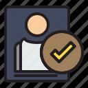 profile, success, computer, data, file icon