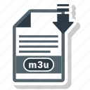 document, extension, format, m3u, paper icon