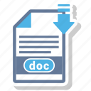 doc, document, extension, format, paper icon