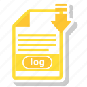 document, extension, format, log, paper icon