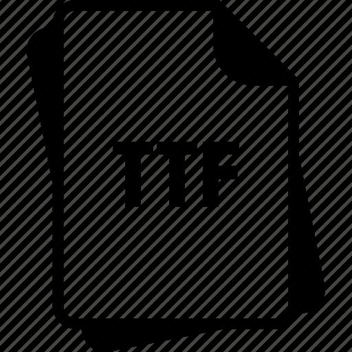 extention, file, truetype font, ttf, type icon