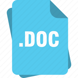 blue, doc, document, extension, file, page, type icon