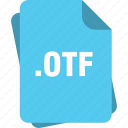 blue, extension, file, font, otf, page, type icon